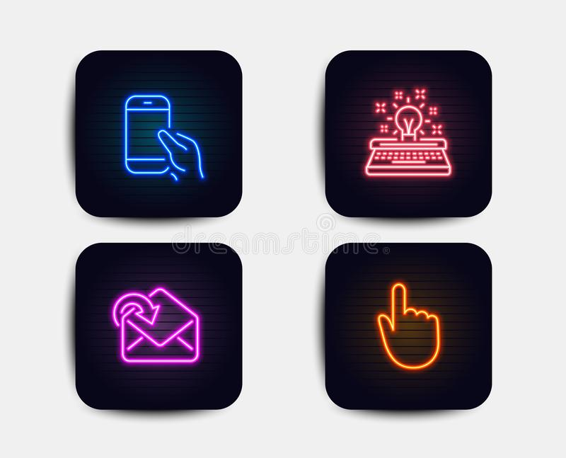 Hold smartphone, Receive mail and Typewriter icons. Hand click sign. Phone call, Incoming message, Inspiration. Vector. Neon glow lights. Set of Hold smartphone vector illustration