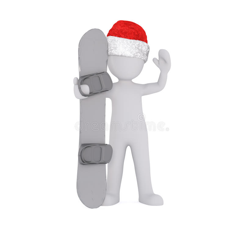 Hold the snowboard. Only wear a christmas cap royalty free illustration