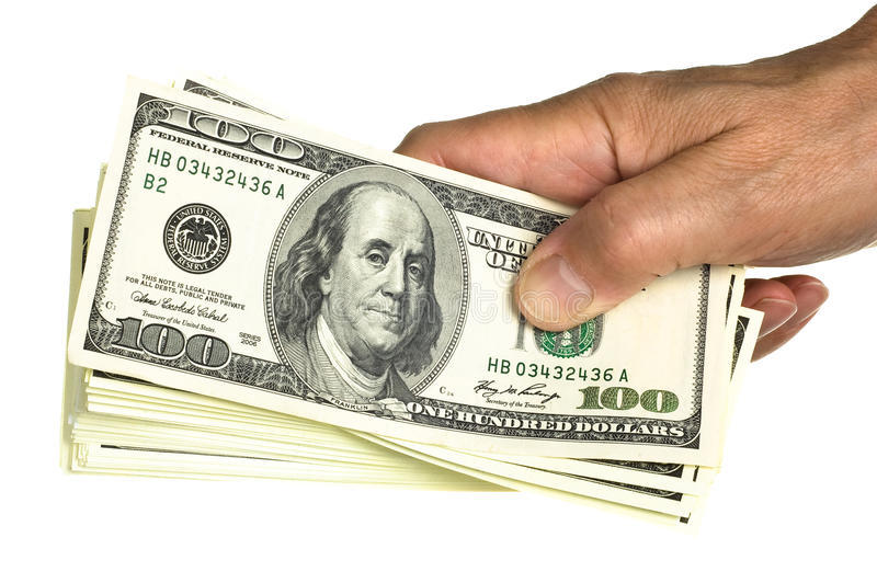 Download Hold Stack 100 Dollars In Hand Stock Photo - Image: 17771096