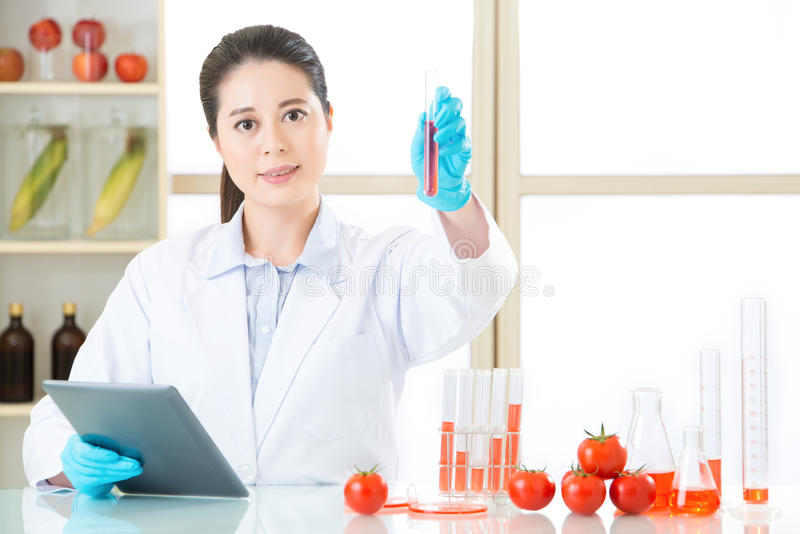 hold up lab tube and find the answer for genetic modification food royalty free stock photography