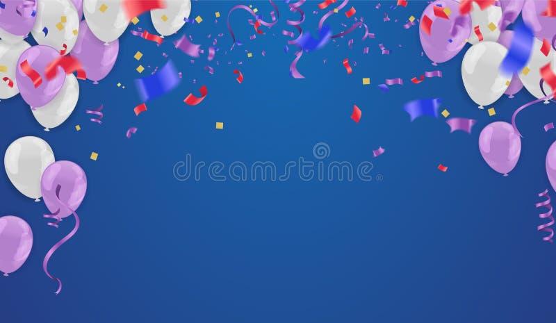 Holday elegant kort med för luftballonger för parti purpurfärgad lycklig birthda royaltyfri illustrationer