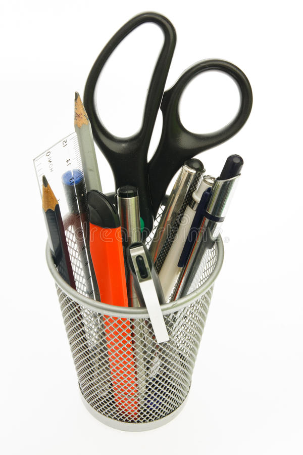 Holder with pen and pencil royalty free stock photo