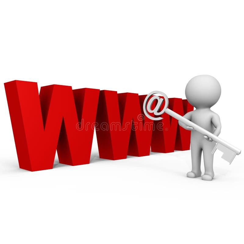 Holdin umano il tasto al Web - immagine 3d illustrazione di stock