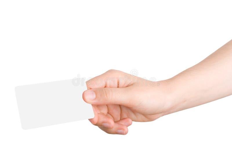 Holdind de la mano una tarjeta de visita fotografía de archivo libre de regalías