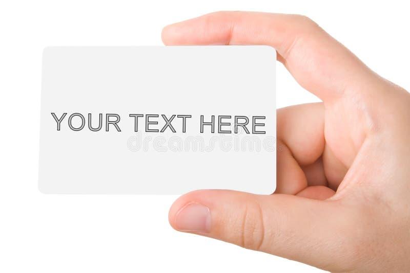 Holdind de la mano una tarjeta de visita imágenes de archivo libres de regalías