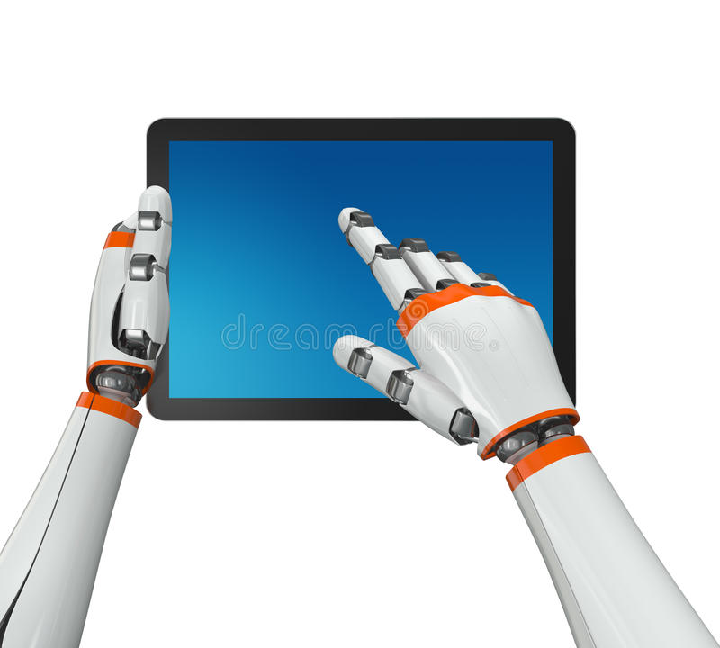 Free Holding A Tablet Computer Royalty Free Stock Image - 22669156