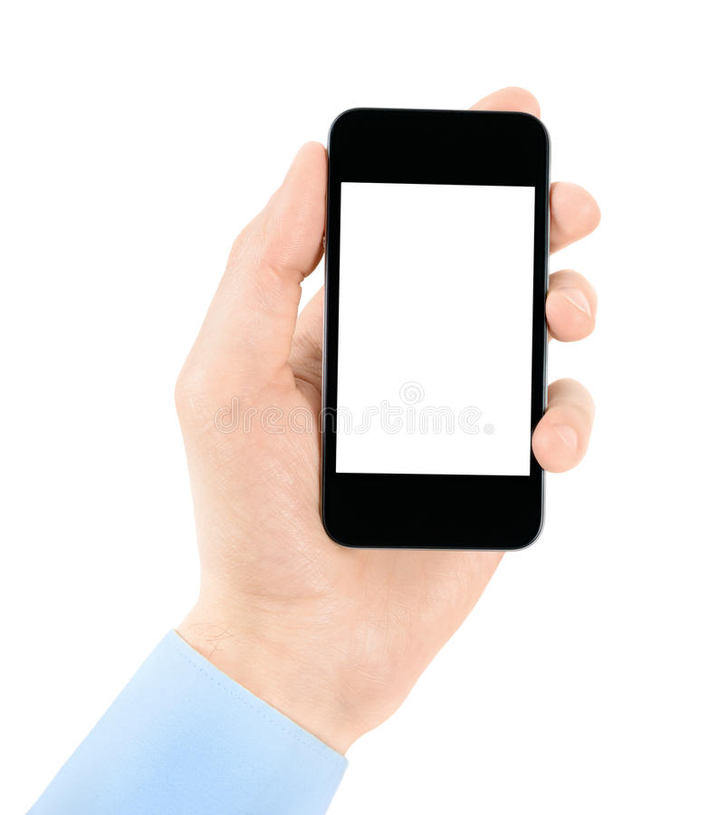 Holding apple iphone in hand with blank screen. Hand holding mobile smart phone with blank screen. Isolated on white royalty free stock photos