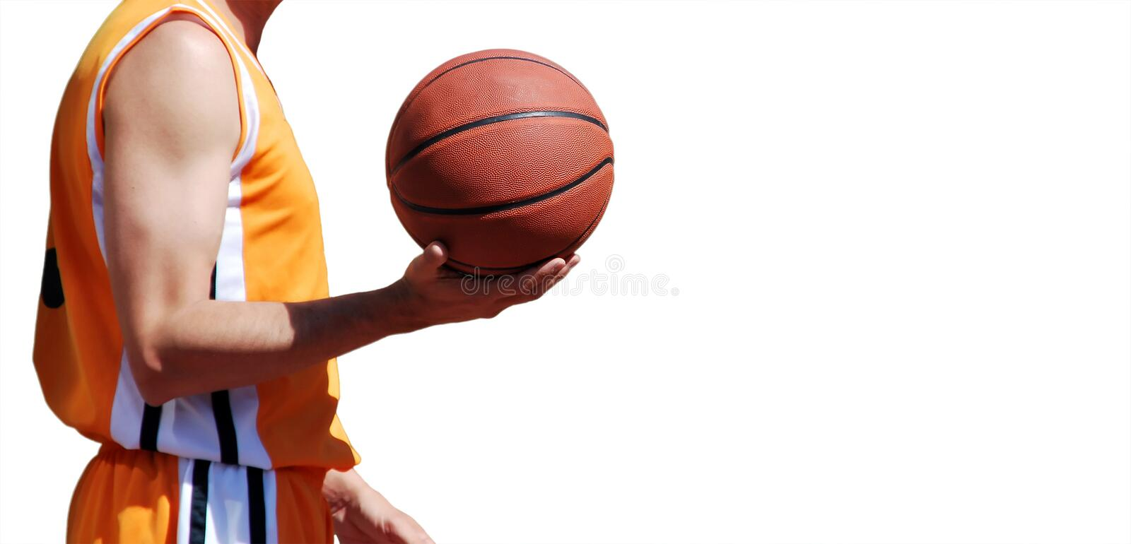 Holding a Basket ball isolated stock photos