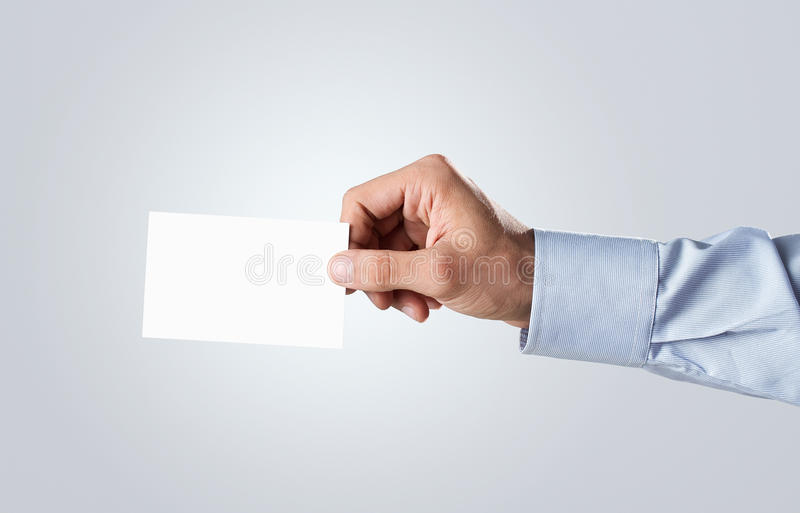 Holding Blank Business Card Royalty Free Stock Photos