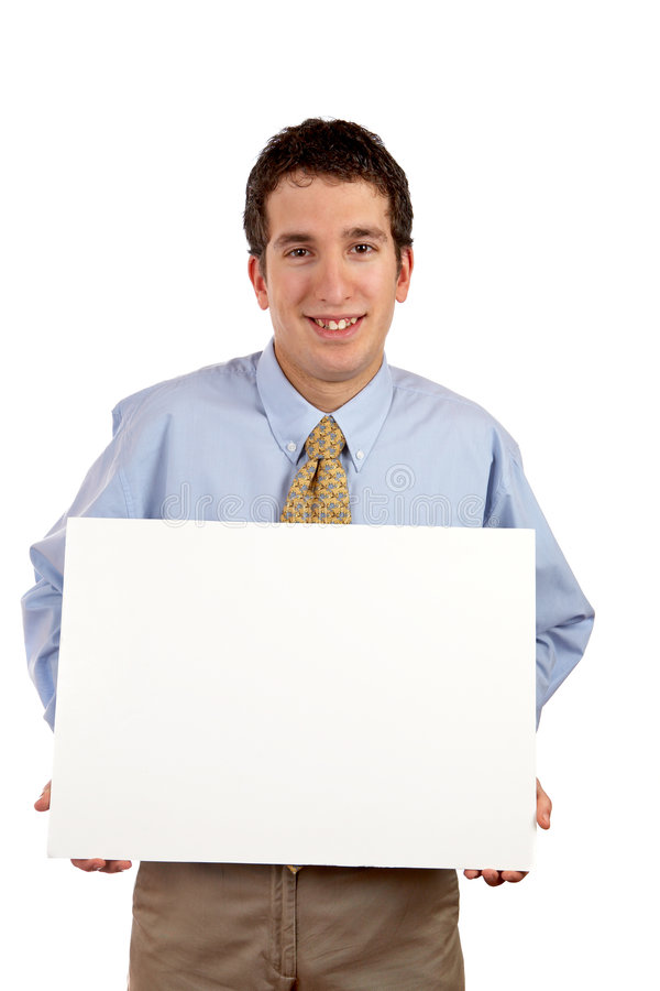 Holding The Blank Placard Stock Photo