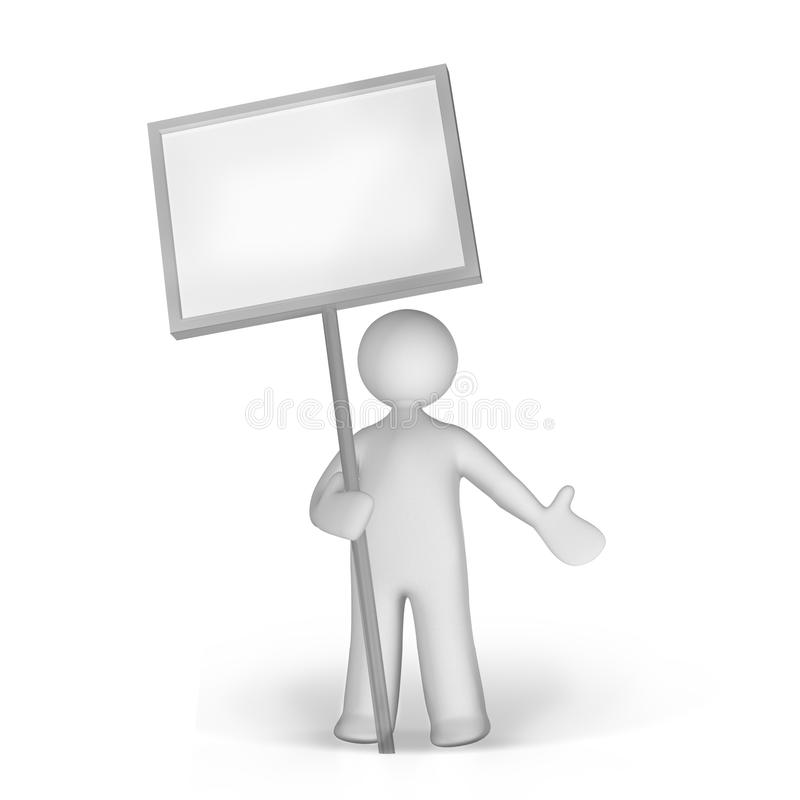 Holding board. The man holding a board consider as another way of communication vector illustration