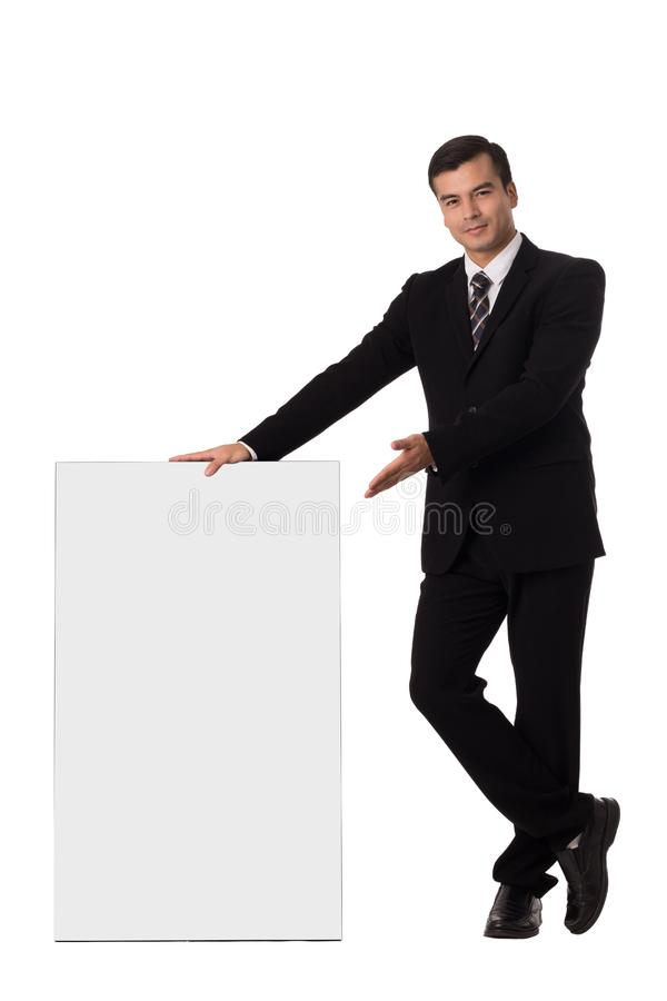 Holding board blank ,business show big empty poster. Isolated with white background stock photos