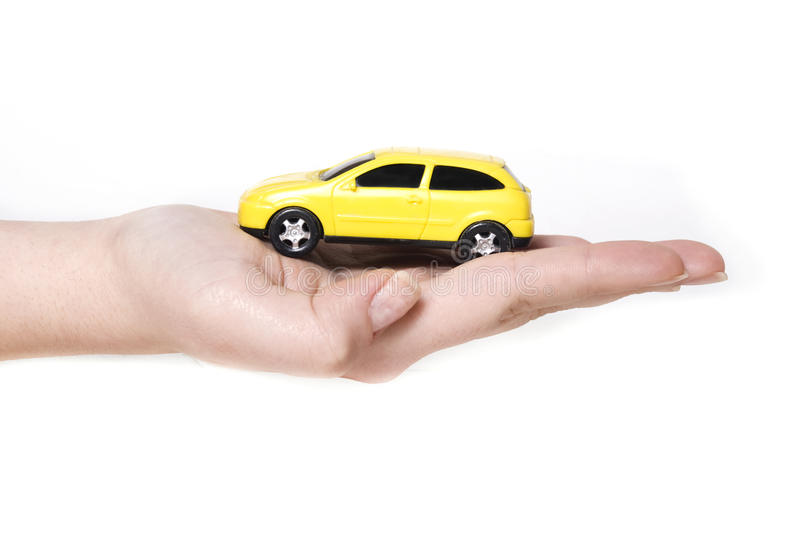 Holding a car. Car Assistance concept on the white background royalty free stock images