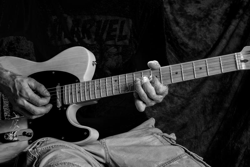 Holding Chords On Electric Guitar Stock Image Image Of Burst