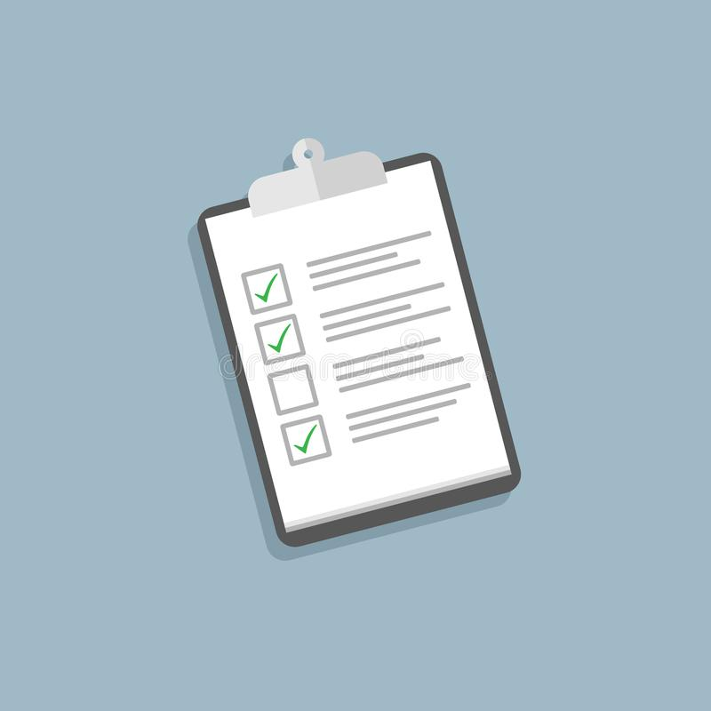 Holding clipboard checklist. Flat style royalty free illustration