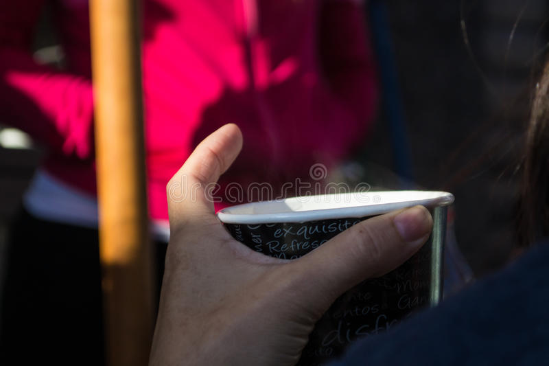 Download Holding coffee cup stock photo. Image of outdoor, plastic - 92418500
