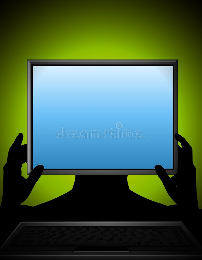 Holding Computer Screen. An illustration featuring an abstract human figure holding a computer screen up in front of face vector illustration
