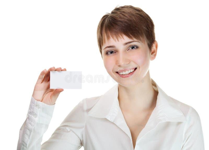 Holding della donna di affari il suo biglietto da visita immagine stock libera da diritti