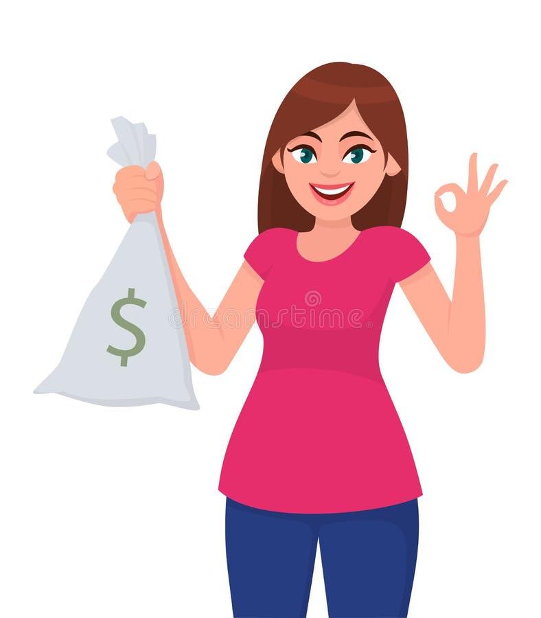 Holding der jungen Frau/darstellen Bargeld, Geld, Banknotetasche mit Dollarzeichen und dem Gestikulieren oder der Herstellung von stock abbildung