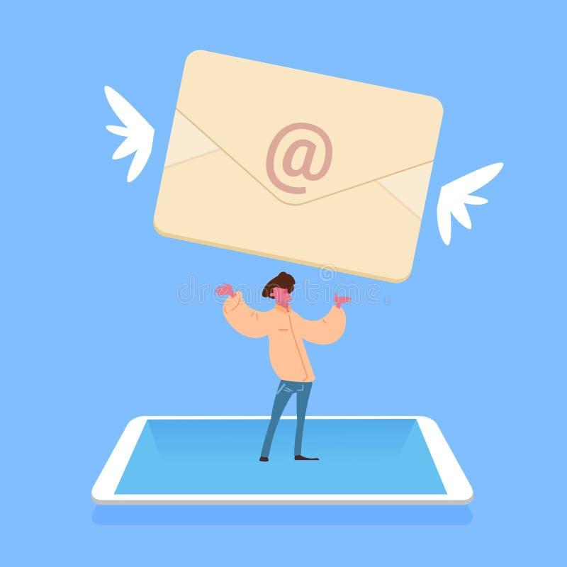Holding die van de mensen de permanente tablet van het de achtergrond toepassings mannelijk karakter van de e-mailenvelopboodscha vector illustratie