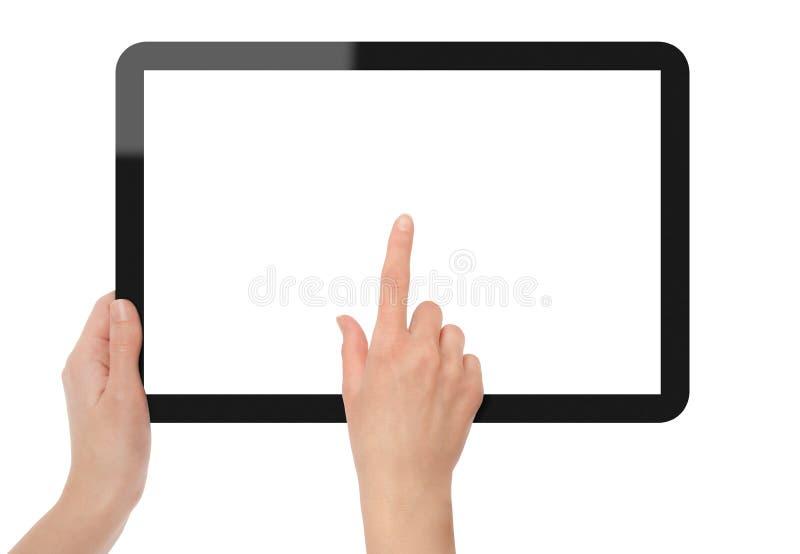 Holding e punto sul PC del ridurre in pani immagini stock