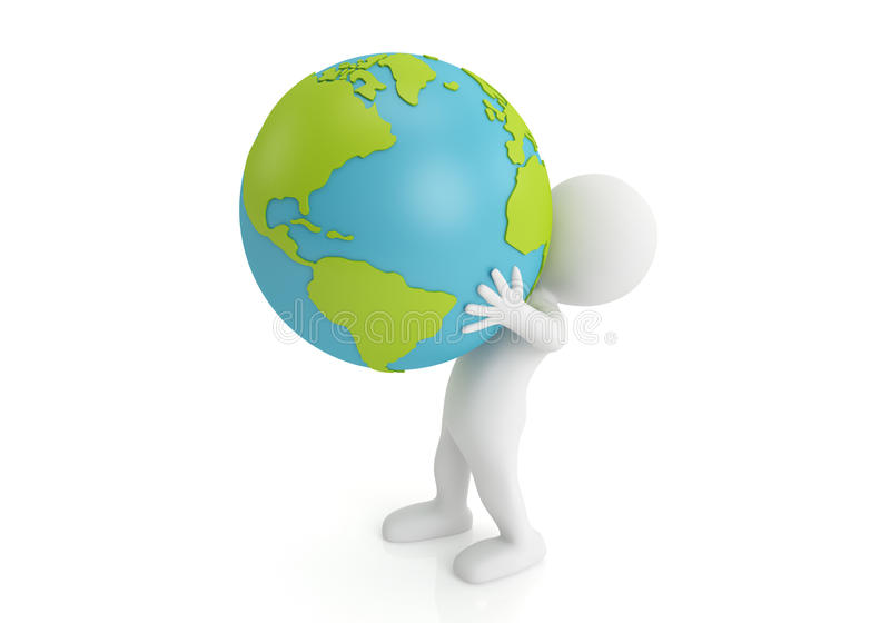 Holding earth. 3d man holding Earth with his hands. 3d image royalty free illustration