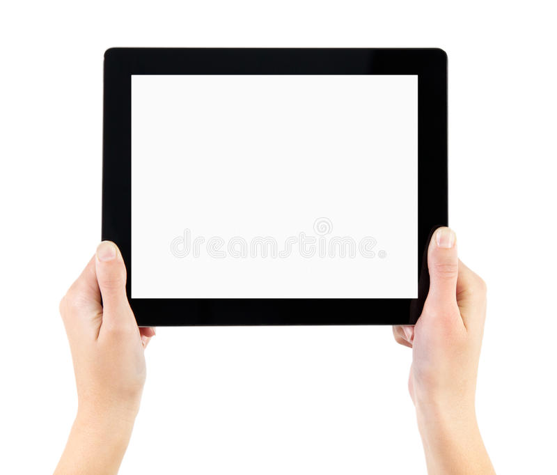 Holding Electronic Tablet PC In Hands. Woman hands holding electronic tablet pc with blank screen. Isolated on white
