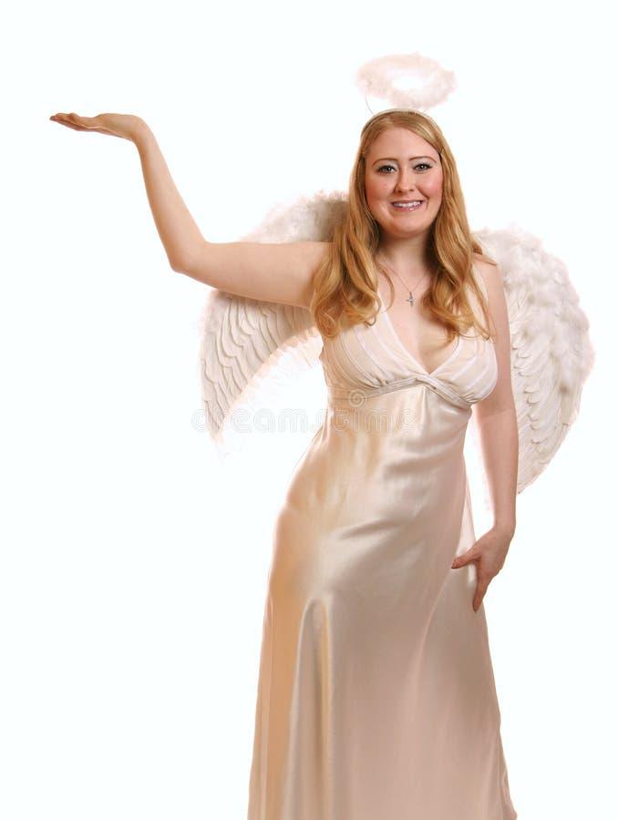 holding för ängelgudinnahand som ler upp royaltyfri foto