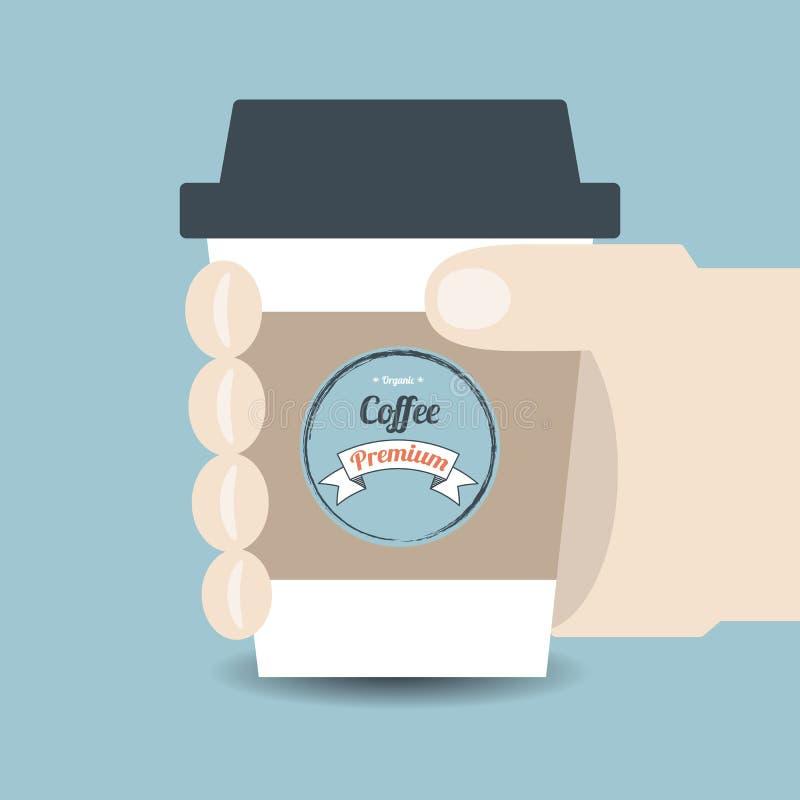holding för hand för kaffekopp stock illustrationer