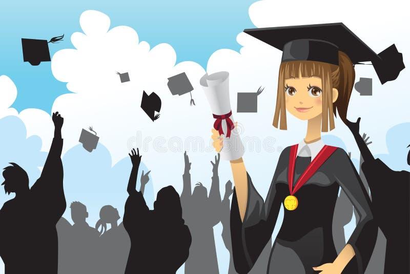 holding för diplomflickaavläggande av examen stock illustrationer