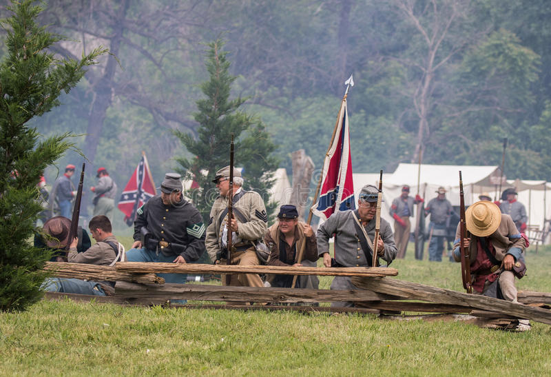 Holding Firm. Civil War era soldiers in battle at the Dog Island reenactment in Red Bluff, California stock photo