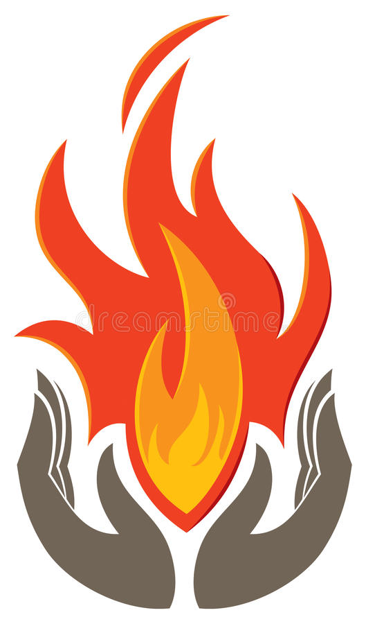 Holding Flame Logo. A logo icon with hands holding a flame royalty free illustration