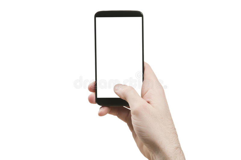 Holding generic smart phone. Vertically royalty free stock image