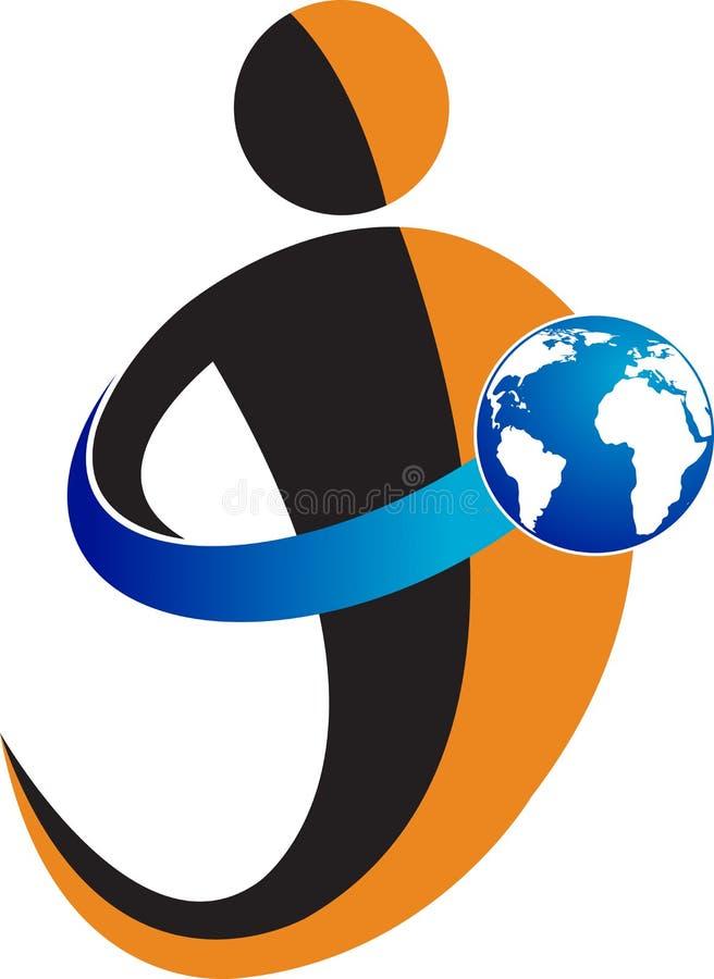 Holding globe logo vector illustration
