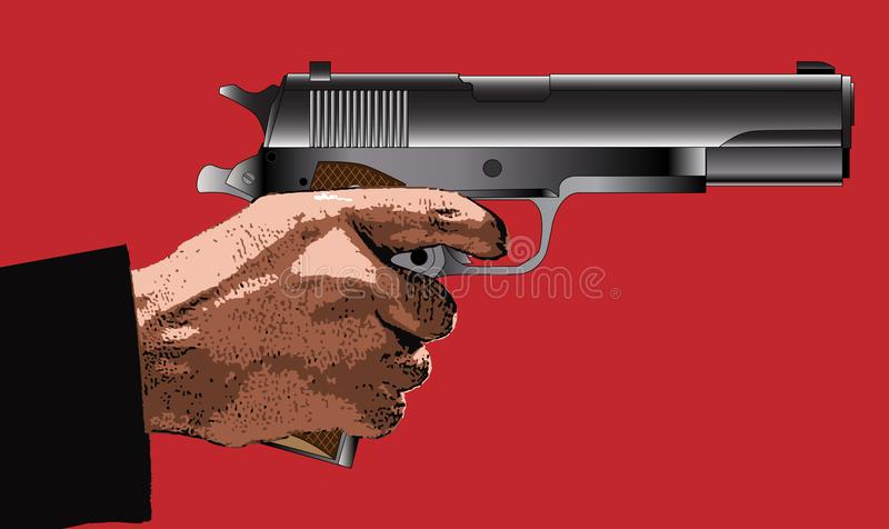 Holding a Gun. A typical 45 automatic hand gun with hand vector illustration