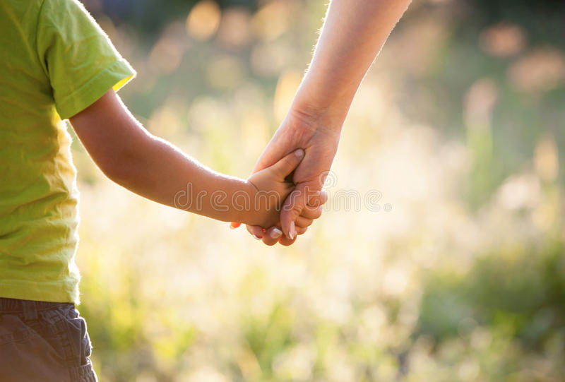 Holding hand in hand royalty free stock photography