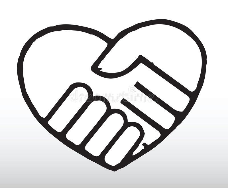 Holding hands. Hand drawn illustration of 2 hands holding together in a heart shape