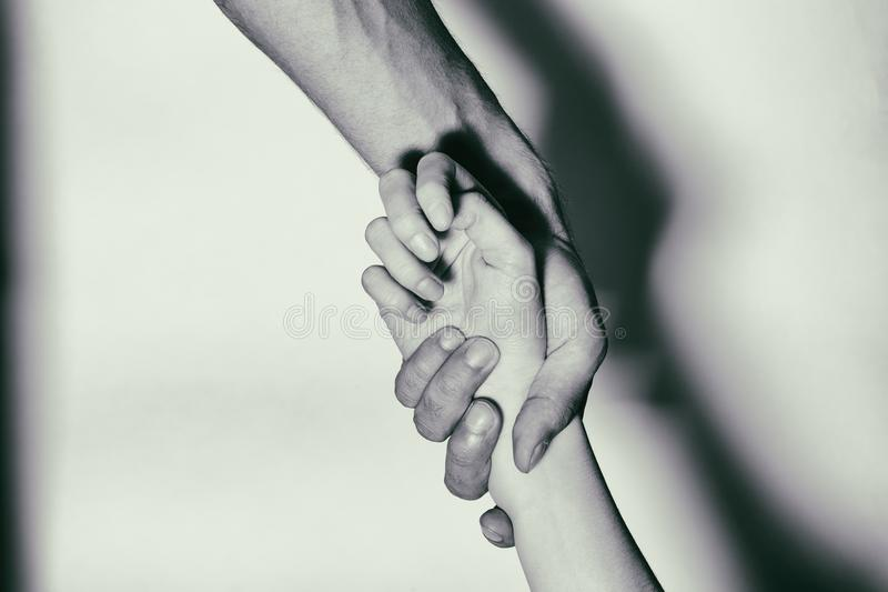 Help to drug addicts. Hand-aid addicts. Black and White stock photo