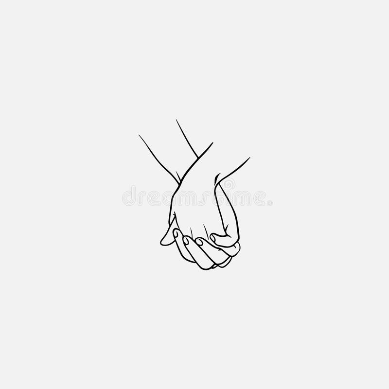 Holding hands with interlocked or intertwined fingers drawn by black lines isolated on white background. Symbol of royalty free illustration