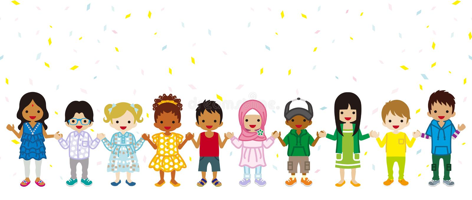 Holding hands Multi Ethnic children in confetti background, stan vector illustration