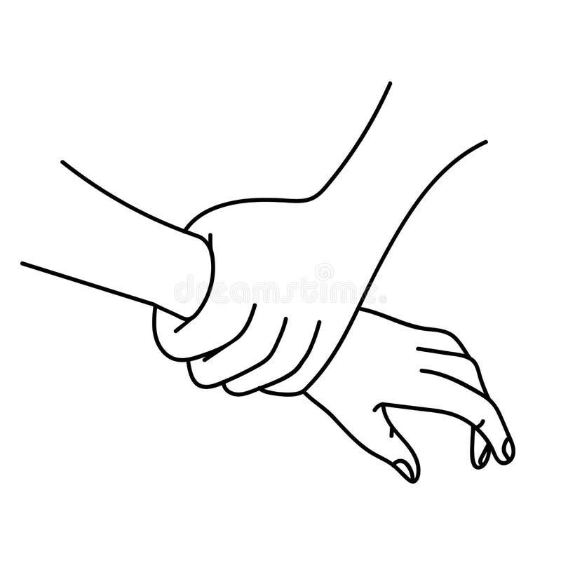 Holding hands outline vector stock illustration