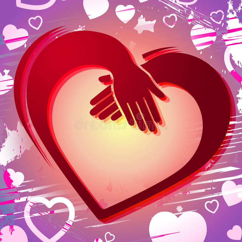 Holding Hands Shows Valentines Day And Affectionate. Holding Hands Indicating Valentine Day And Affectionate vector illustration