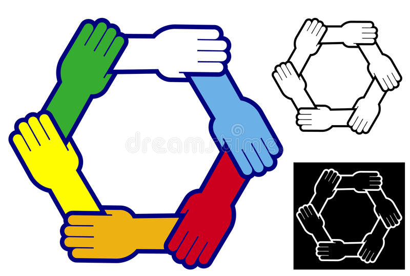 Download Holding Hands To Form A Hexagon Stock Vector - Image: 15081651