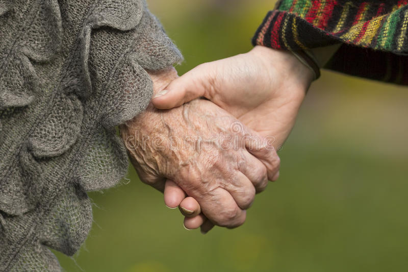 Holding hands together - old and young. Love. royalty free stock images