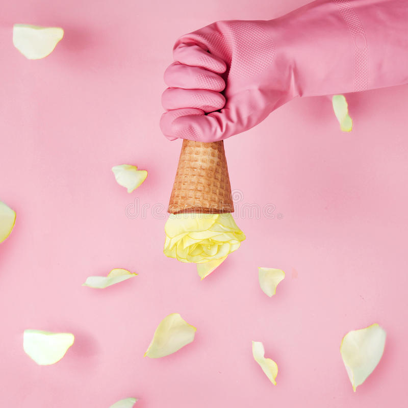 Holding Ice cream cone with yellow rose.valentine concept stock photo