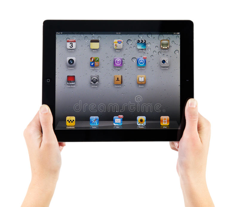 Holding iPad2 In Hands royalty free stock images