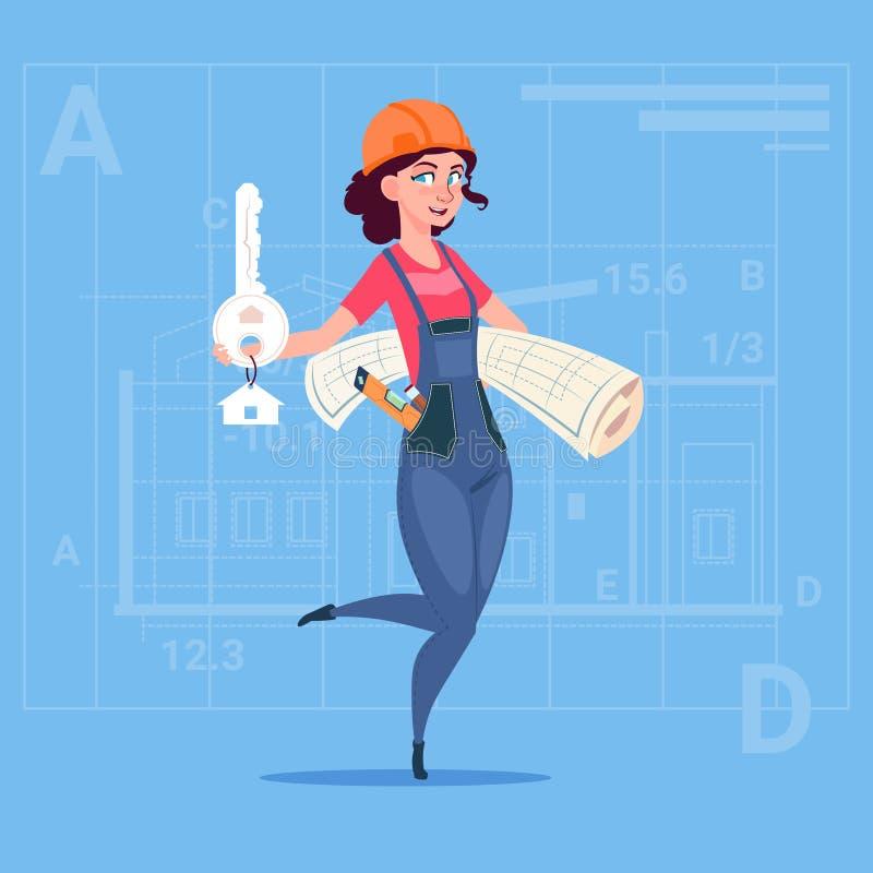 Holding Key From för kvinnlig byggmästare för tecknad film nytt hus och ritning över abstrakt planbakgrund royaltyfri illustrationer