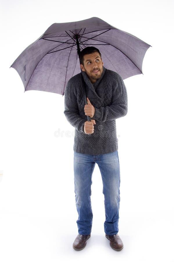 holding looking man umbrella up στοκ φωτογραφίες με δικαίωμα ελεύθερης χρήσης