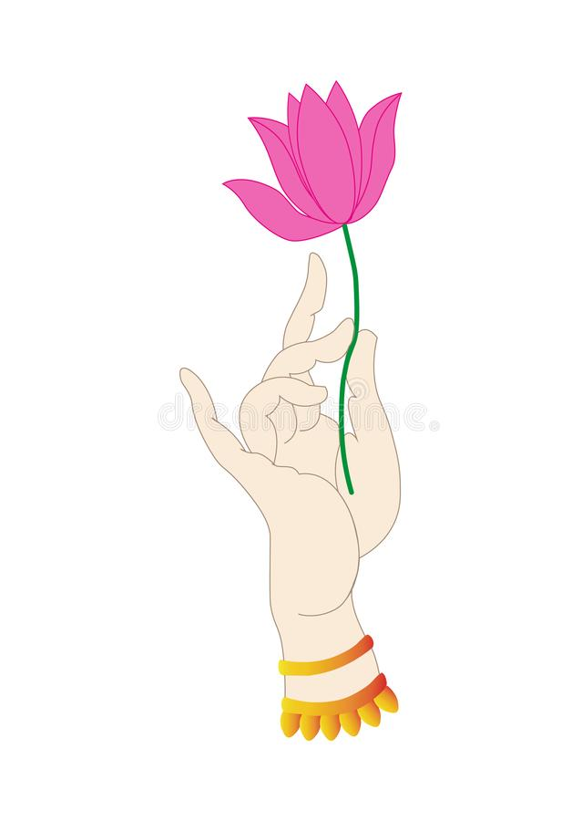 Holding a lotus flower in his hand.Rotating flowers stock illustration
