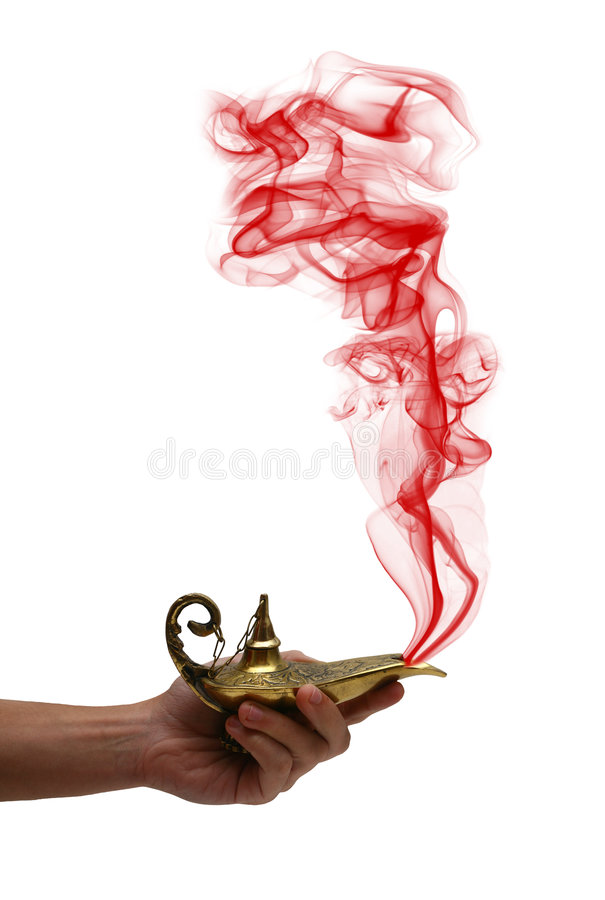 Holding a Magic Lamp royalty free stock image
